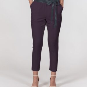 DeMarcus Alexan Stripe Blocks Women's Belted Tapered Pants